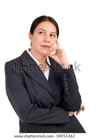 Young business woman in deep thoughts over white background - stock photo