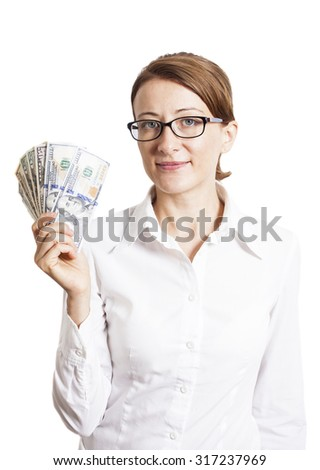 Young Business Woman In Eyeglasses Holding Dollar Banknotes isolated on white