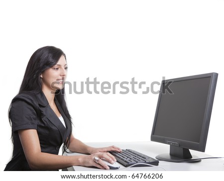 Young business Woman is working on Computer
