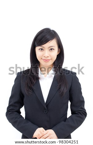 young business woman isolated on white background