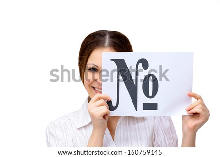 young business woman isolated on white showing and displaying empty business card ready for text  - stock photo