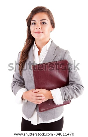 Young business woman, isolated over a white background - stock photo