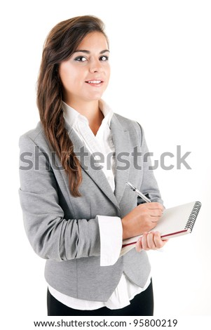 Young business woman, isolated over white background - stock photo