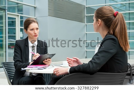 Young business woman job interview