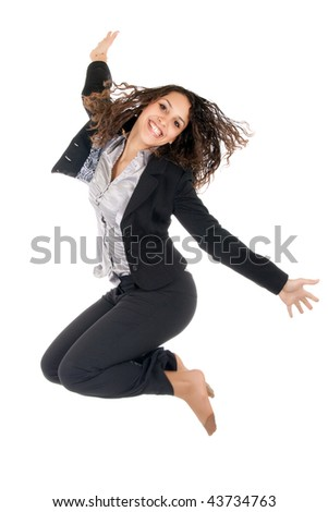 young business woman jump isolated on white - stock photo