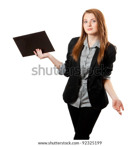 Young business woman looking at camera and holds clipboard