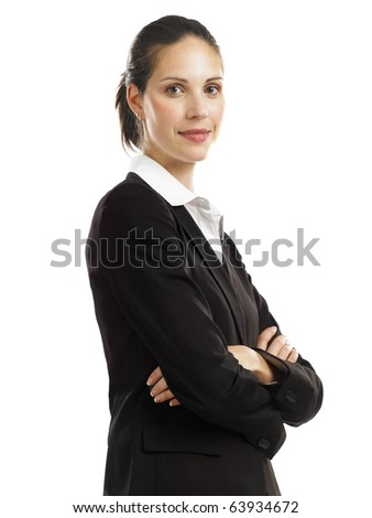 Young business woman looking confident - stock photo