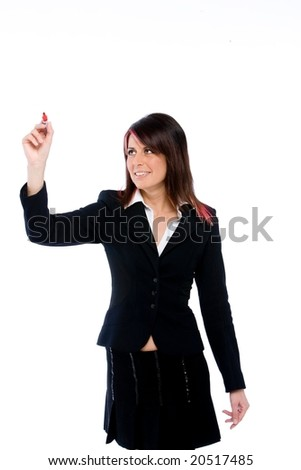 young business woman looking like writing on undefined point in front of her - stock photo