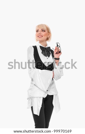 Young business woman looking up, isolated over white background - stock photo