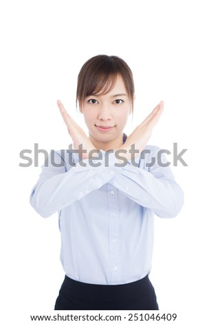 young business woman making stop gesture, isolated on white background - stock photo