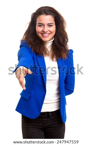 Young business woman offering handshake, isolated over copy space background - stock photo