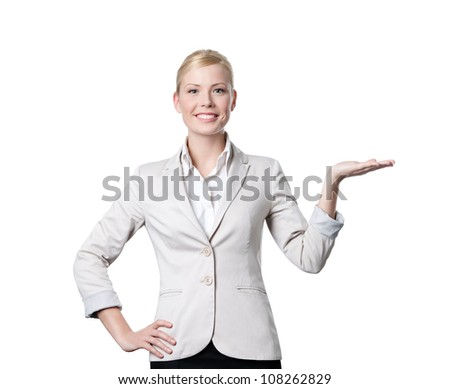 Young business woman offers something, isolated on white - stock photo