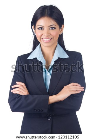 Young business woman on white background
