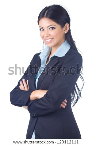 Young business woman on white background - stock photo