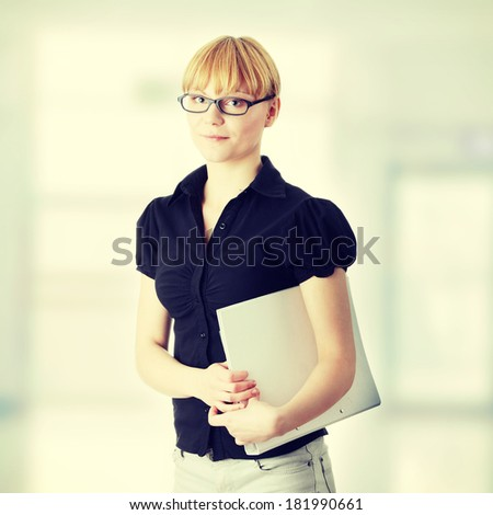 Young business woman or student - stock photo