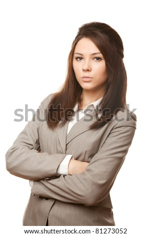 Young business woman over white background