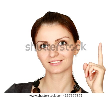 young business woman pointing at up