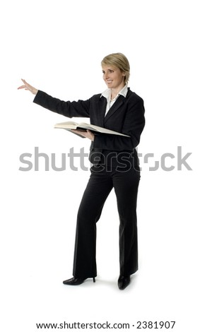young business woman pointing on white background - stock photo