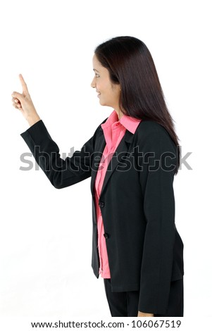 Young Business woman pointing out