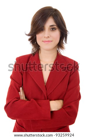 young business woman portrait isolated on white background