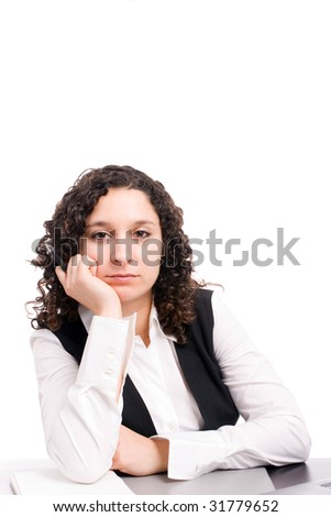 Young business woman, posing isolated on white