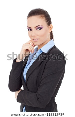 young business woman posing with hand on chin, acting thoughtful, looking at the camera,on white background - stock photo