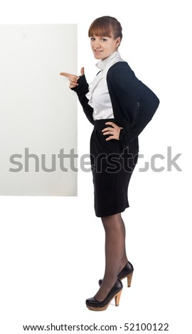 Young Business woman posing with poster - stock photo