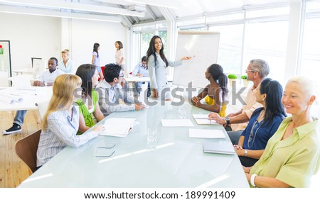 Young Business woman presenting  - stock photo