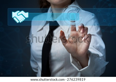 Young business woman pressing a different button collection - stock photo