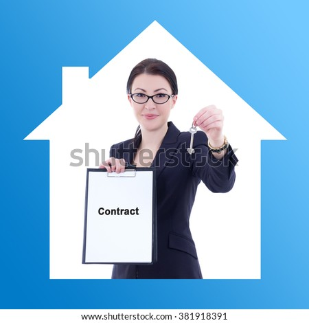 young business woman real estate agent showing contract and metal key - stock photo