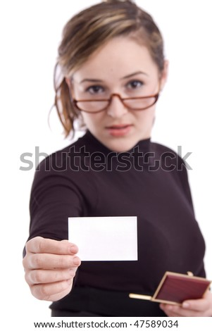 Young business woman showing a blank card isolated over white background - stock photo