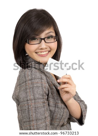 young business woman showing blank business card - stock photo