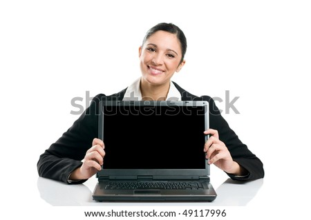 Young business woman showing blank laptop screen ready for your text and promotion, isolated on white background. - stock photo