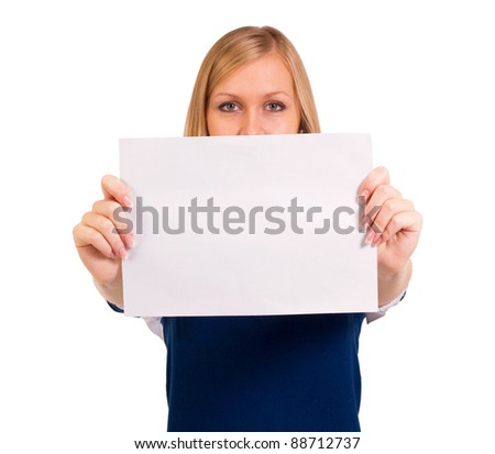 young business woman showing blank signboards - stock photo