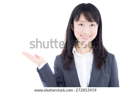 young business woman showing copy space isolated on white background - stock photo