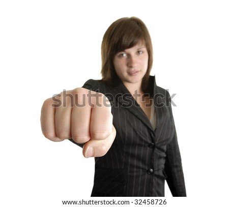 young business woman showing her fist - stock photo