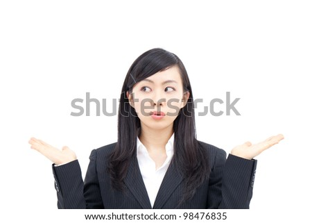 young business woman showing on the palms of her hands - stock photo