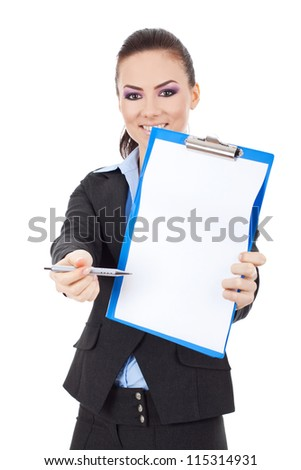 Young business woman showing where to put signature on a clipboard, isolated on white - stock photo
