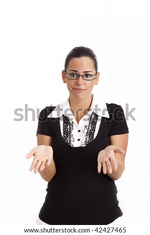 Young business woman shrugs her shoulders and throws her hands in the air bewildered gesture. - stock photo