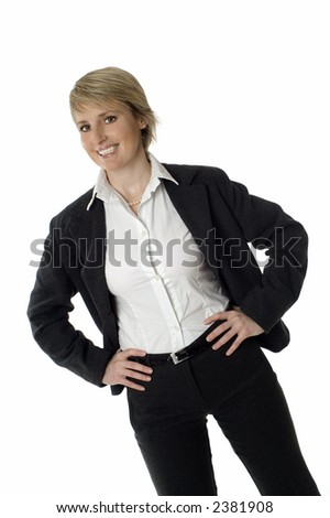 young business woman smiling on white background - stock photo