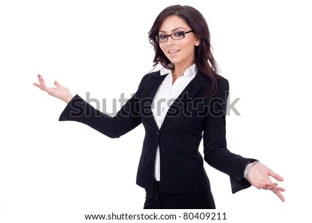 Young business woman smiling whit her arms open. - stock photo