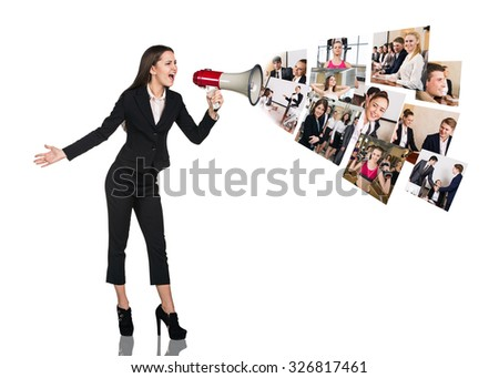 Young business woman speak to megaphone with people collage. Business concept