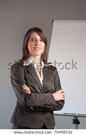 Young business woman standing in front of a flip chart