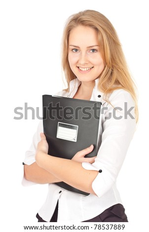 Young business woman standing with folder and smiling