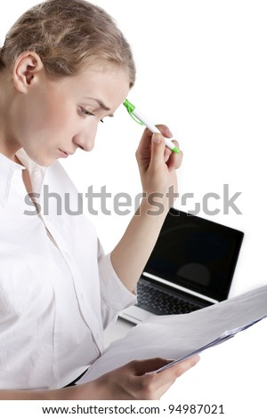 Young  Business Woman Surfing On The Internet