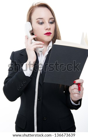 young business woman talking at the phone on white background