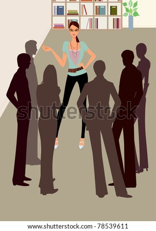 Young business woman talking to colleagues at office meeting, silhouette of business people brainstoming in office, talking, explaining - stock photo