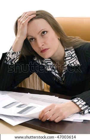 young business woman thinking about the problems with the documents