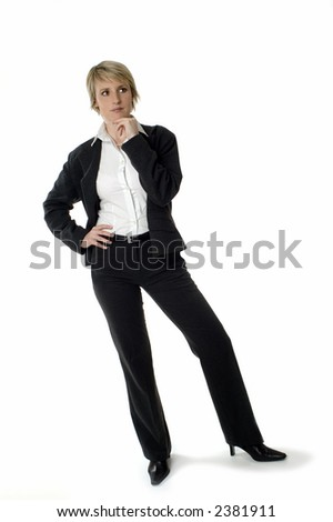 young business woman thinking on white background - stock photo