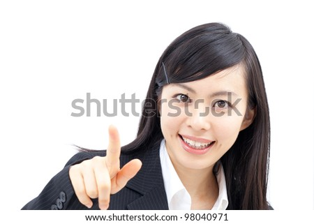 young business woman touching the screen with her finger, isolated on white background - stock photo